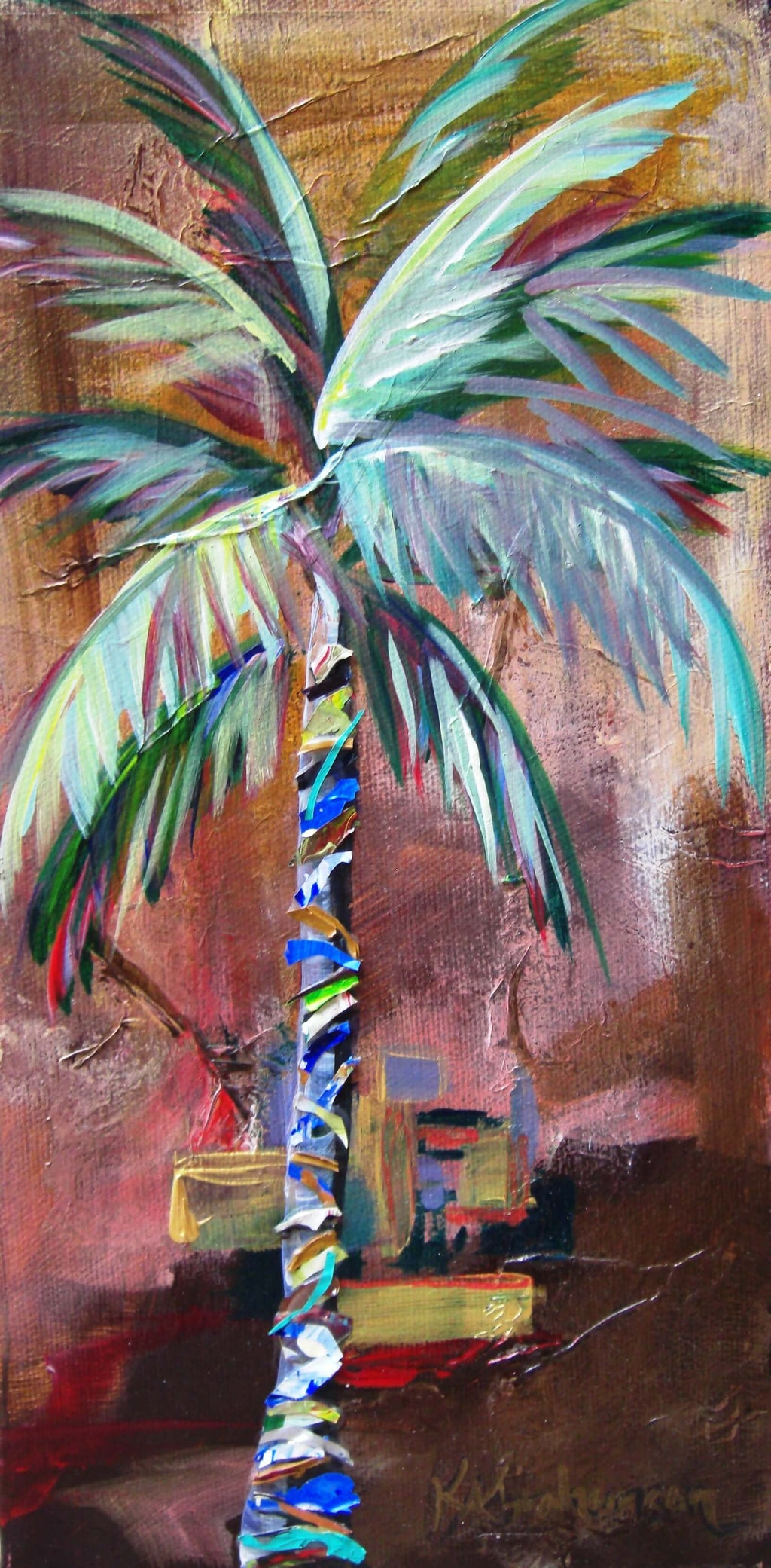 """Golden Jasper Palm Tree Painting"""