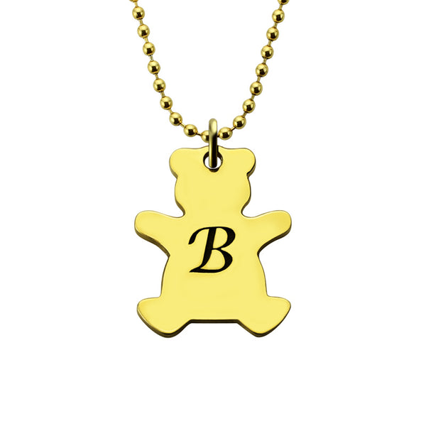 Gold Bear Pendant Necklace