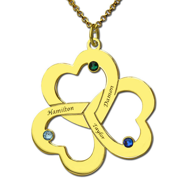 3 heart diamond necklace in gold