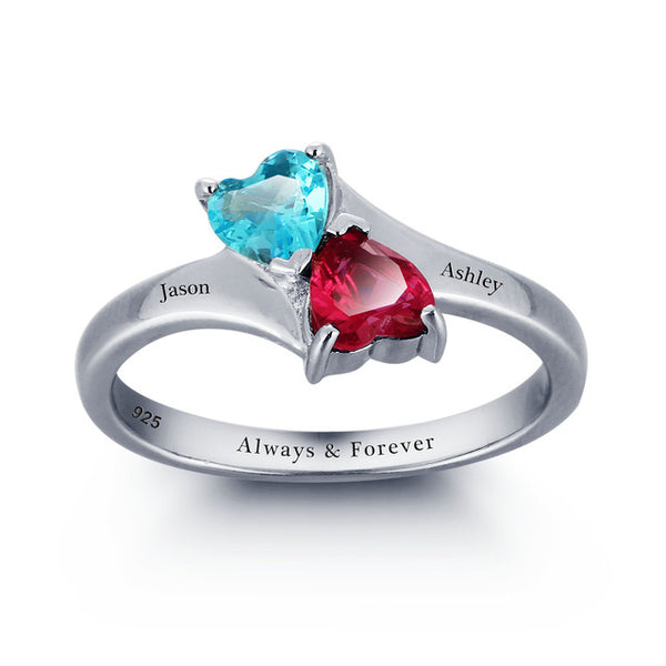 Two Heart Shaped Birthstone Ring