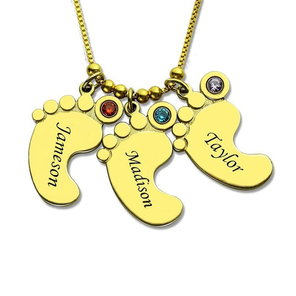Baby Feet Necklace with 3 Names and birthstones