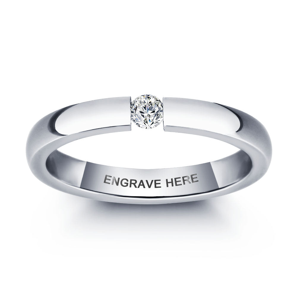 Simple Style Birthstone Name Ring
