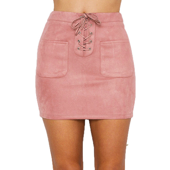 Lace Up Suede Midi Pencil Skirt