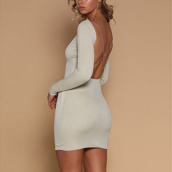 Criss Cross Shiny Bodycon Dress