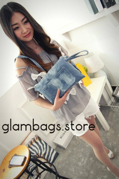 Blue Denim Crossbody Bag with front Phone Pocket