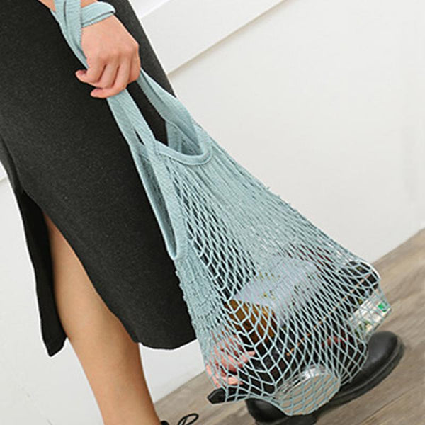 Cotton Mesh Shopping Tote long or short Handle
