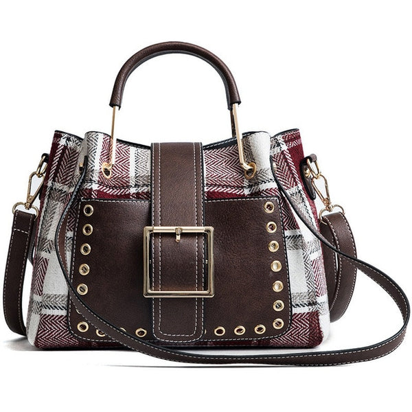 Plaid Wool and Leather Big Buckle Handbag w/Rivets