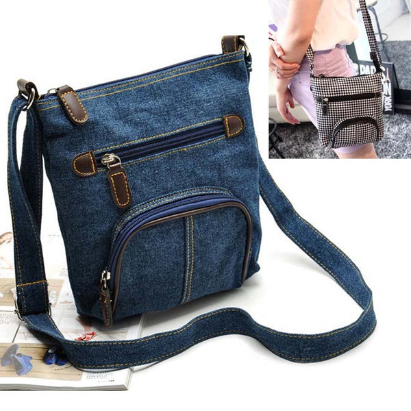 Denim Crossbody Bag w/Zippered Front Pockets
