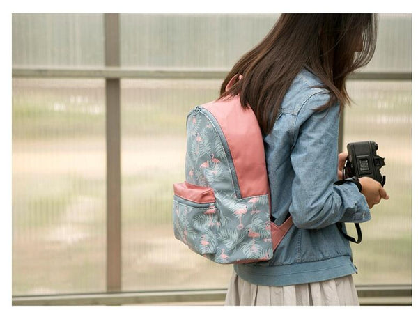 Floral Flamingo Stitched School Backpack