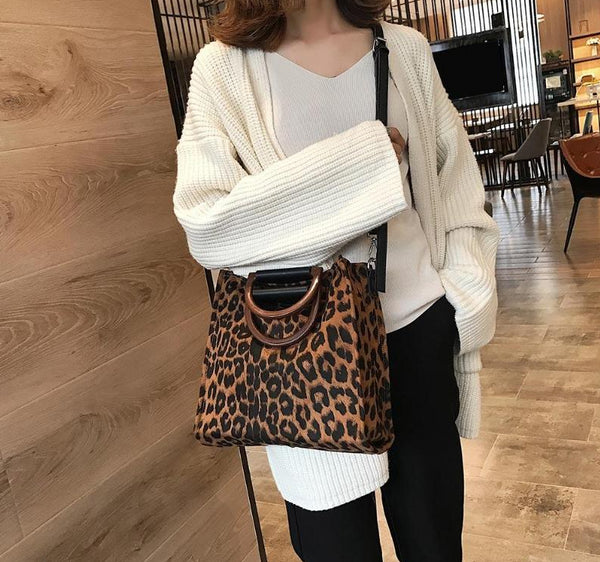 Leopard Print Tote Bag with Riveted Top Handle