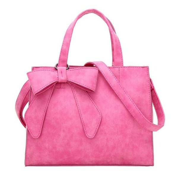 Casual Top Handle Tote with Cute Bow