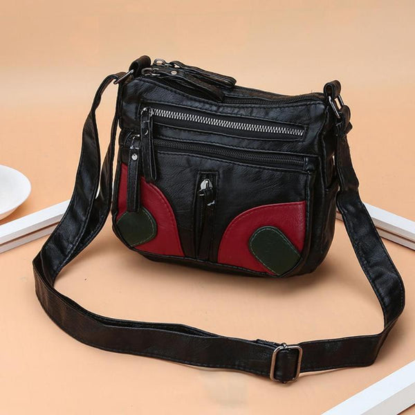 Red and Black Hobo style Messenger Bag