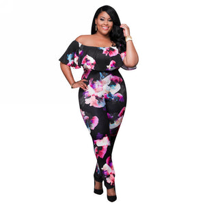 Plus Size One Piece Floral Jumpsuit