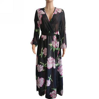 Black and Pink Rose Maxi Dress