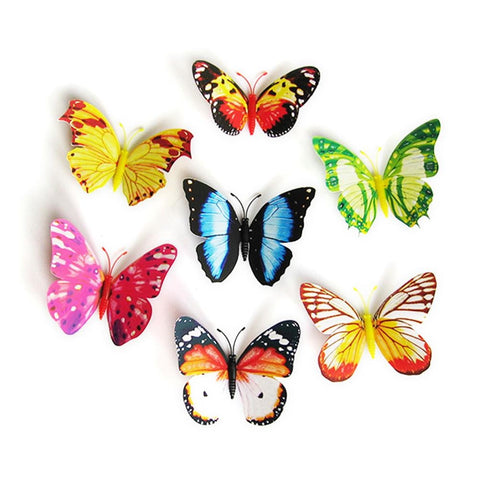 10Pcs Luminous Colorful Butterfly On Sticks Garden Vase Lawn Craft Art Decoration