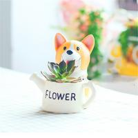 Cute Dog Shape Planter Plant Pot Succulent Herb Flower Case Resin Outdoor Indoor Exquisite Flower Pots