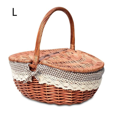 Handmade Wicker Flower Basket Shopping Storage Hamper With Lid And Handle Wooden Color Wicker Storage Pots Panier de fleurs