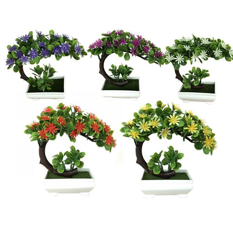 Simulation Moon-shaped China Aster Plant Floral Potted Green Bonsai Decoration Small Bonsai Home Decor Table Top Ornaments