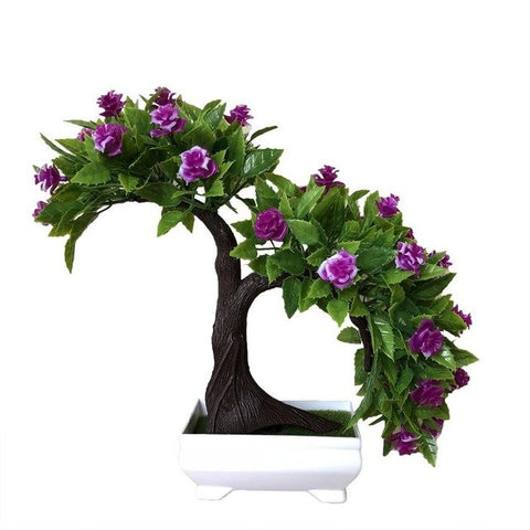 Simulation Rose Tree Potted Indoor Table Top Decoration Simulation Bonsai Craft Green Plant Decoration