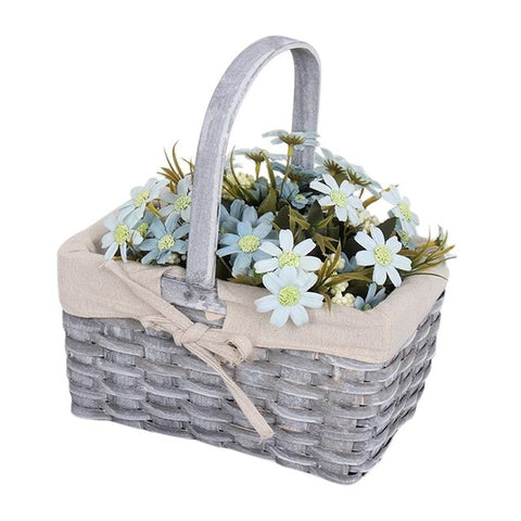 Wicker Craft Desktop Flower Storage Basket Handmade Rattan Baskets Woven Storage Box Basket Fruit Organizer Desktop Flower Pot