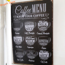 Retreo Coffee Metal Sign for Decoration , Coffee Menu Poster Art Plaque