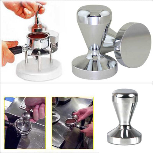Coffee Barista Espresso Flat Tamper 51 mm Base Clear Body Stainless Steel