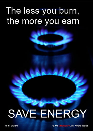 Picture of two lit gas burners on a black background with white text.