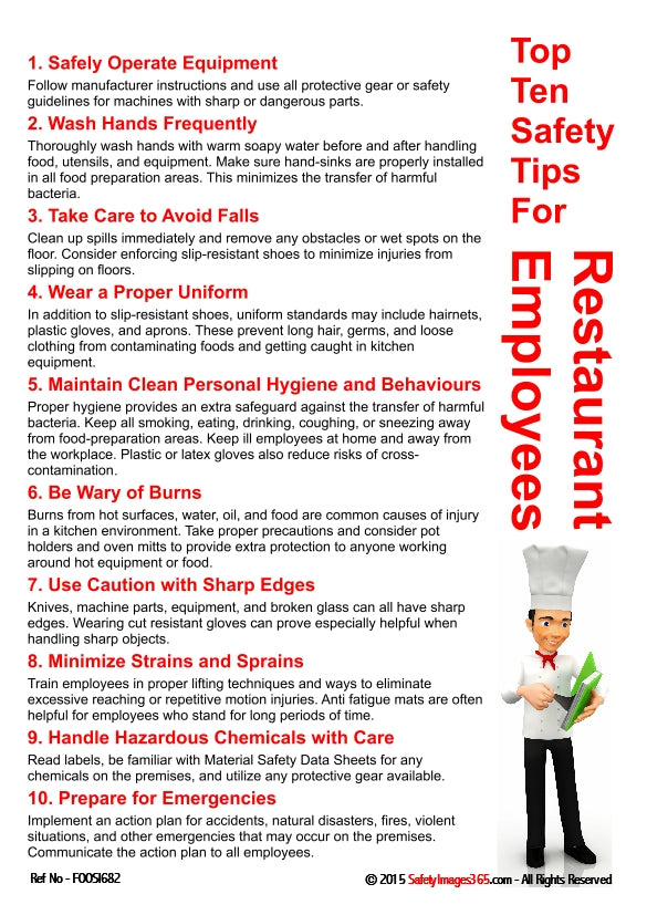 List of ten top safety tips for restaurant employees presented by a character wearing a chef's hat.