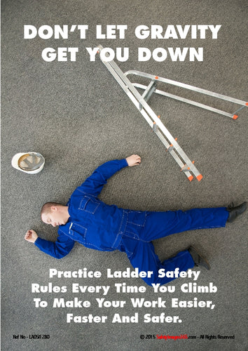 Picture of a man lying unconscious on the ground next to a set of ladders