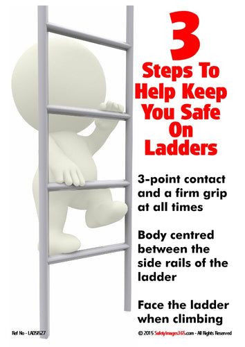 A picture of a bubbleman climbing a ladder with information about how to stay safe on ladders.