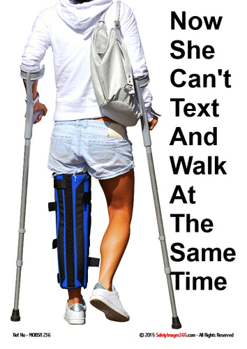 Picture of a woman with a leg injury walking with the aid of crutches.