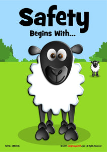Image of cartoon sheep in a field with the caption safety begins with.