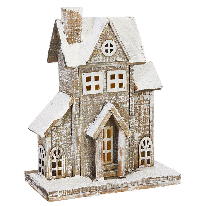Snowy Wood Lighted House 13""