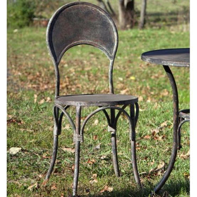 Aged Metal Patio Chairs Set of 2