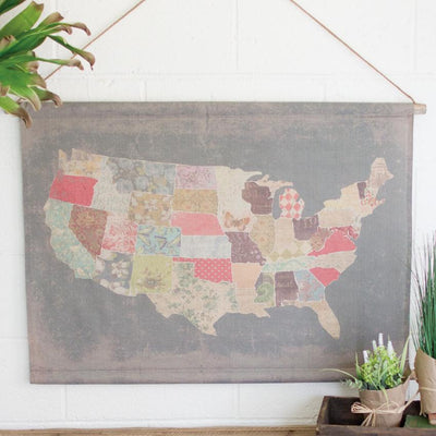 Canvas Multi Pattern USA Map Banner