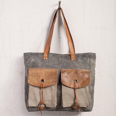Flapper Canvas Leather Tote