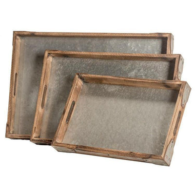 Galvanized Metal Wood Tray