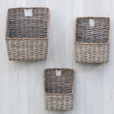 Grey Washed Willow Wall Basket