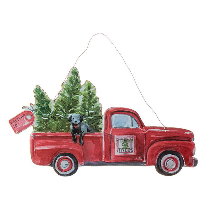 Metal Truck with Dog Wall Hanging Ornament-Seasonal-Raz-A Cottage in the City