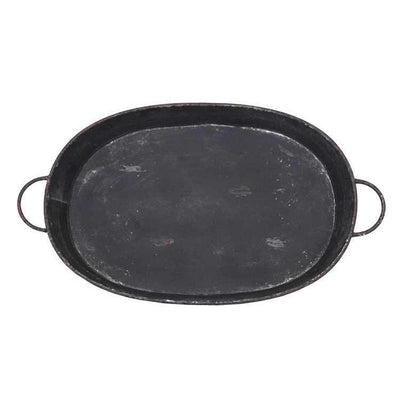 Oversized Metal Distressed Black Tray