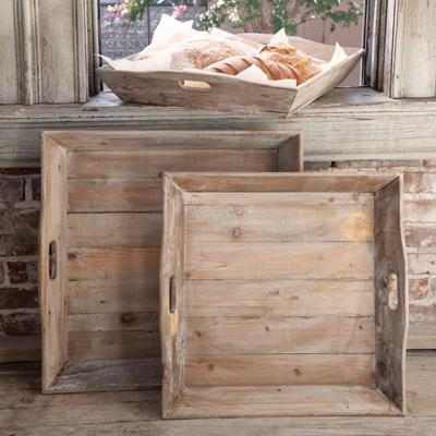 Reclaimed Wood Square Trays