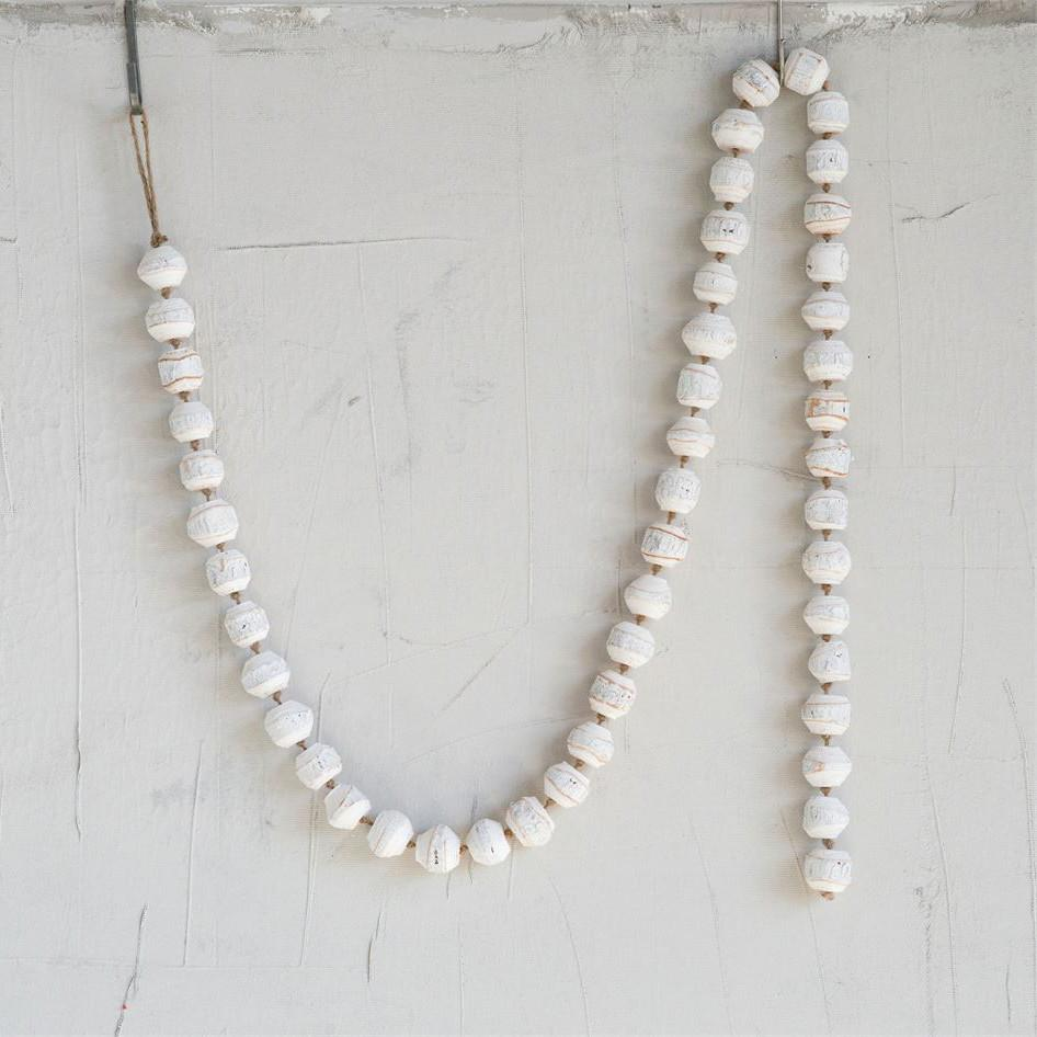 White Wood Bead Garland-Seasonal-Creative-A Cottage in the City