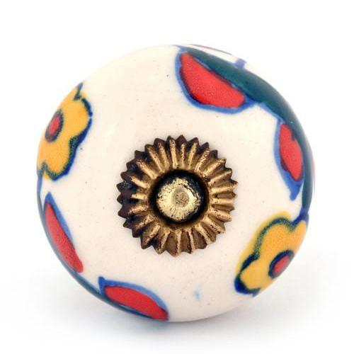 Yellow Flowers Ceramic Knob