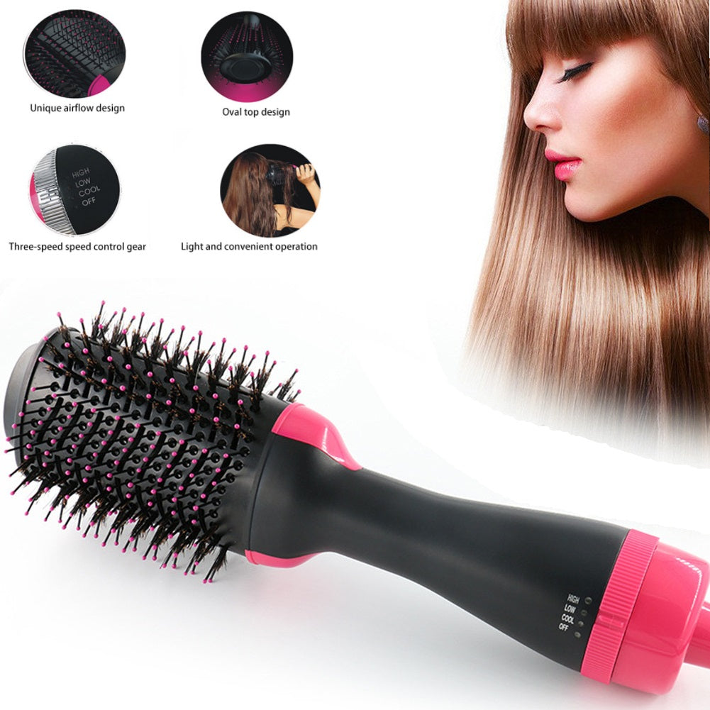 Drop Ship 2 In 1 Multifunctional Hair Dryer Rotating Hair Brush Roller Rotate Styler Comb Straightening Curling EU US UK AU Plug