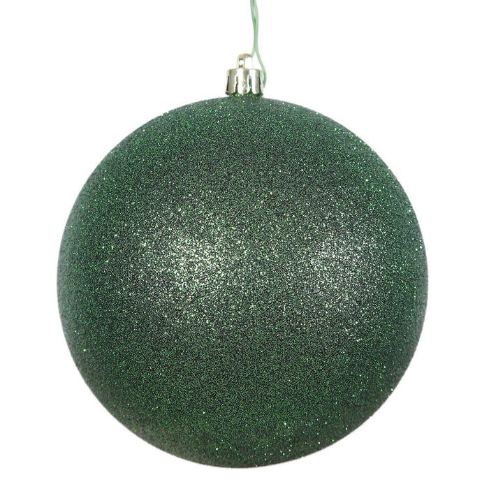 4 inches Emerald Glitter Ball Drilled 6/Bag