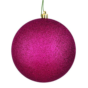 4 inches Berry Red Glitter Ball Drilled 6/Bag