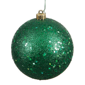 4 inches Emerald Sequin Ball Drilled 6/Bag