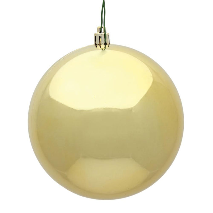 4 inches Gold Shiny Ball UV Drilled 6/Bag