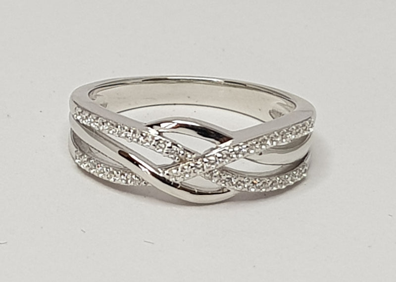 Cross Over CZ Sterling Silver Ring