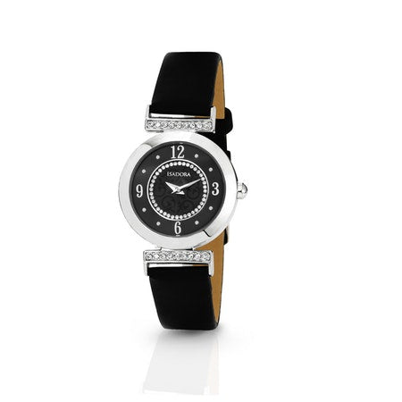 Altea by Isadora Black Silver Crystal Set  with Black Leather Strap Watch
